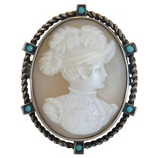 Antique shell Cameo with Turquoise beads, silver 800, 19th century