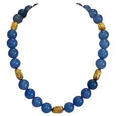 Vintage blue Agate bead necklace, 14k yellow gold spacers, ca. 1970