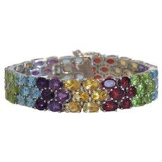 Vintage gem stone bracelet set in silver 925, ca. 1970