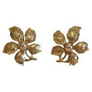 Vintage 14k yellow gold flower earrings, ca. 1950