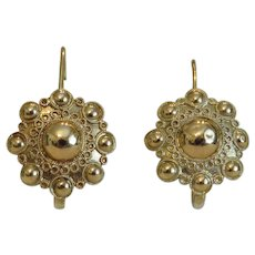 Antique 14k yellow gold flower earrings,19th century