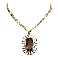 Vintage Smoky Quartz pendant, 14k yellow gold, ca. 1950