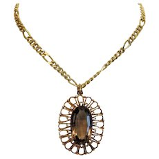 Vintage Smoky Quartz pendant, 14k yellow gold, ca. 1950