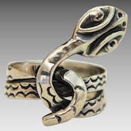 Vintage Mexican snake ring, silver 925 JJC, ca. 1960-1970