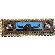 Antique Mosaic and Pietra Dura brooch, gilt silver, 19th century