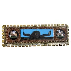Antique Mosaic and Pietra Dura brooch, gilt silver, 19th century
