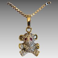 Vintage  bear  pendant, 14 k yellow and white gold, ca. 1960