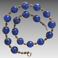 Vintage Murano royal blue glass bead necklace, ca.1950