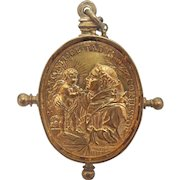 Antique gilt silver pendant with chain, 18th century