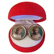 Vintage Pair of cuff links with a photo,gilt metal, ca.1930