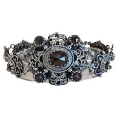 Antique Garnet bracelet, silver 800, 19th century