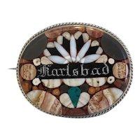 Antique Karlsbad brooch, silver 800, 19th century