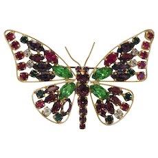 Vintage multicolor butterfly brooch, Gablonz ,ca. 1930