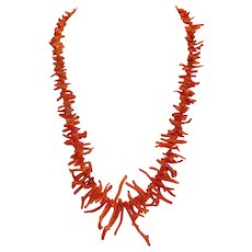 Vintage orange branch Coral necklace, ca.1950