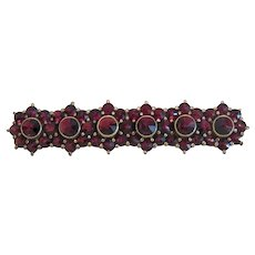Vintage Garnet brooch, 9k yellow gold, ca. 1930