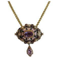 Antique Amethyst Enamel pendant, 14k yellow gold, 19th century