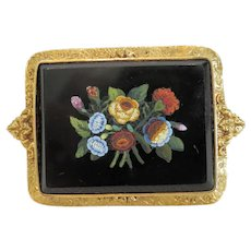 Antique Roman Micro Mosaic brooch, 18 k gold, 19th century
