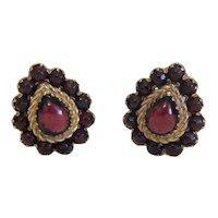 Antique  Garnet Clip On earrings, gilt metal, 19th century