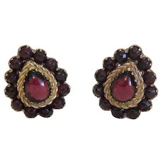 Antique  Garnet Clip On earrings, gilt metal, 19th century