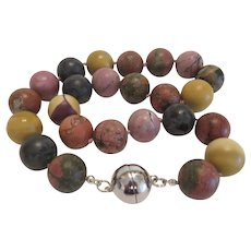 Vintage semi precious stone bead necklace, ca.  1960