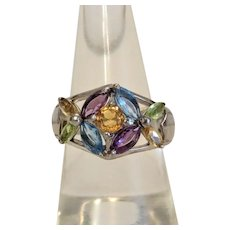 Vintage gem stone ring, silver 835, ca. 1960