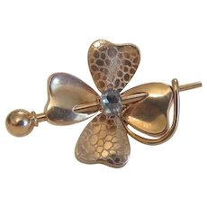 Antique Diamond clover leaf brooch, 14 k yellow gold, ca. 1880
