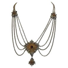 Antique Garnet necklace, silver 835 partly gilded,19th century
