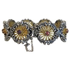 Antique Garnet silver bracelet, partly gilded, 19th century