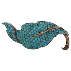 Antique Turquoise silver and gold brooch, 19th century