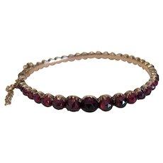 Antique Garnet bracelet, 9 k rose gold, 19th century