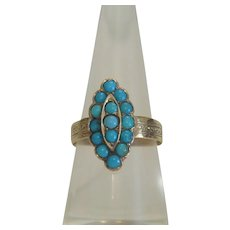 Antique Turquoise ring, 14k yellow gold, 19th century