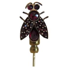 Antique Garnet stick pin, 14 k yellow gold, 19th century