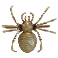 Vintage spider brooch, 18k yellow gold, ca. 1930