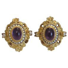 Antique Amethyst cabochon earrings, gilt silver, 19th century