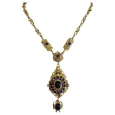 Antique Amethyst necklace, gilt silver, 19th century