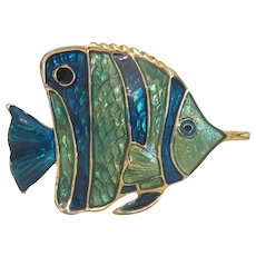 Vintage blue and green enamel fish brooch, ca. 1950