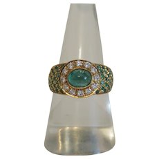 Vintage Emerald and Diamond ring, 18k yellow gold, ca. 1970