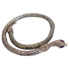 Vintage snake necklace, silver plate, ca.1970
