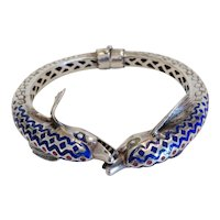 Vintage enamelled silver bangle bracelet, ca. 1920