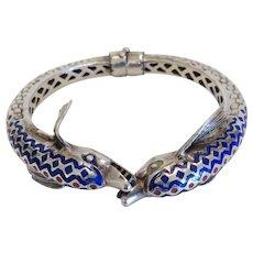 Vintage enamelled silver bangle bracelet, ca. 1920