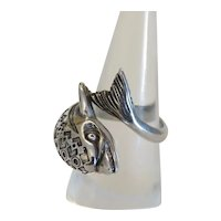 Vintage Dolphin silver ring with Niello, ca. 1930