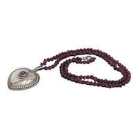 Antique Garnet bead necklace, silver 925,19th century