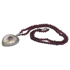 Antique Garnet bead necklace, silver 925,19th century