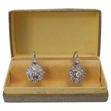 Diamond Dormeuse earrings, 14k white gold, ca.1930