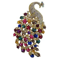 Vintage colorful Rhinestone brooch, gilt metal, 20th century