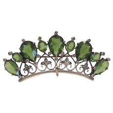 Antique Peridot brooch with seed pearls, silver 800, 19th century
