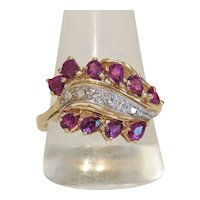 Vintage Diamond and Ruby ring, 14k yellow gold, ca. 1950