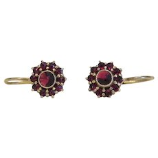 Antique Garnet earrings, gilt silver, 19th century