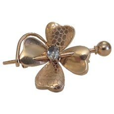Antique 14 k yellow gold clover leaf brooch, 19th century