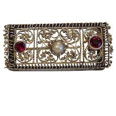 Antique Garnet brooch, gilt silver, 19th century